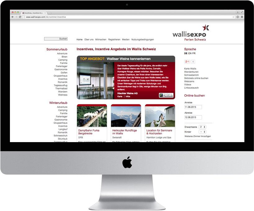 Auf dem Bild wird ein Computer mit der offenen Wallisexpo Seite gezeigt.